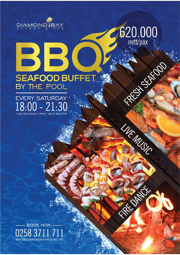 BBQ SEAFOOD BUFFET BY THE POOL